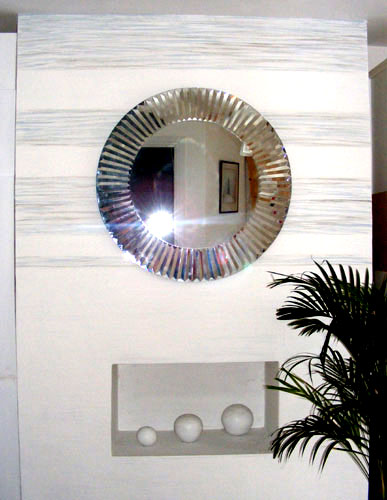Hand painted wall by Lea with mirror